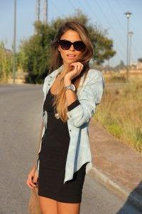Denim shirt over summer black dress.