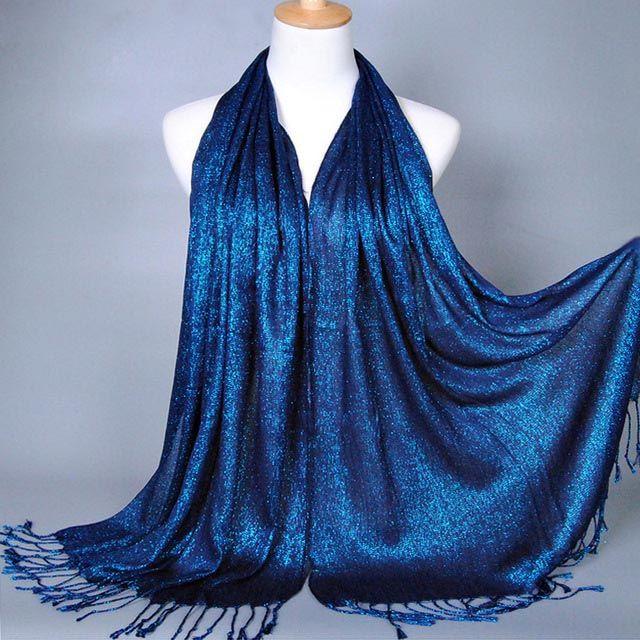 170*60 di Nuovo Modo Plain Shimmer Scintillio di Inverno Mulsim Wrap Viscosa Lurex Lungo Scialli Musulmano Hijab Sciarpe Donne Sciarpa 2400