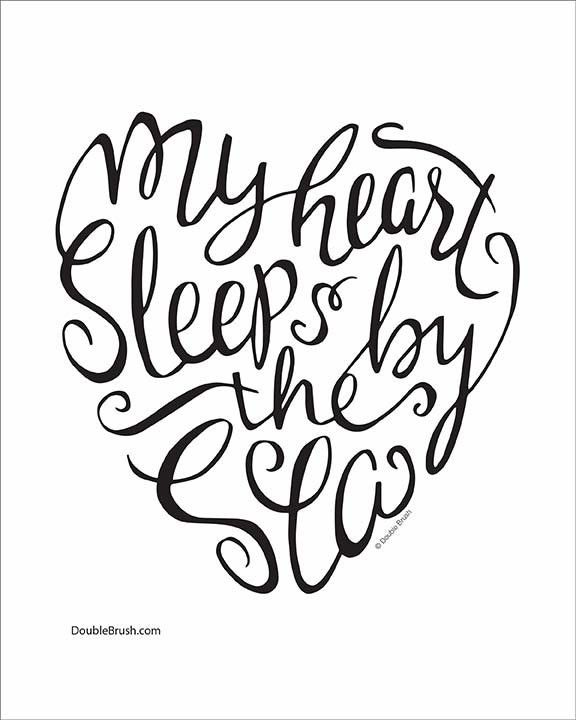 "The perfect contemporary beach decor print for your wall. Our unique modern calligraphy design ""My heart sleeps by the sea"" is a wonderful gift for yourself or someone who loves the ocean and sea. Pri"