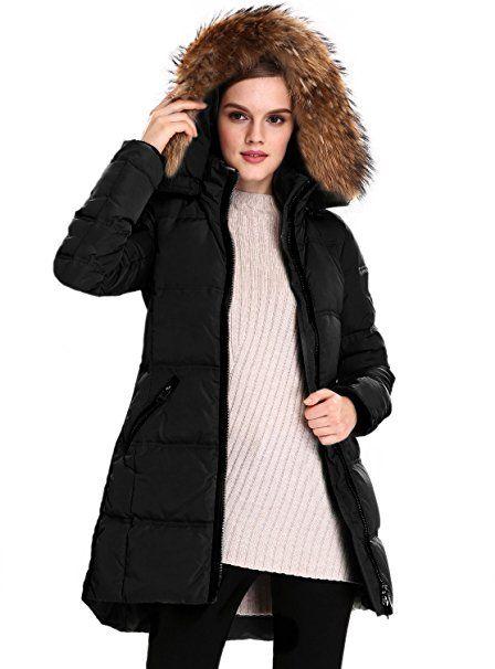 Escalier Femme Manteau veste d'hiver manteau de duvet veste avec capuche fourrure doudoune longue réal Veste en duvet Parka
