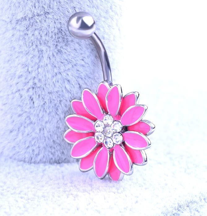 Drop Shipping Body Piercing Jewelry Women Sexy flower Navel Piercing Belly Button Ring navelpiercing chirurgisch staal