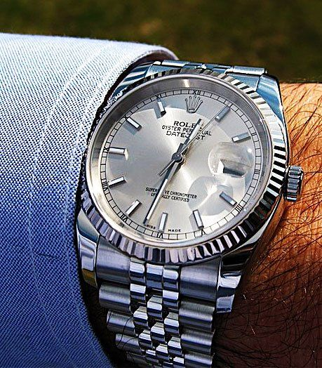 Rolex Stainless Steel Datejust with Jubilee Band and Fluted White Gold Bezel