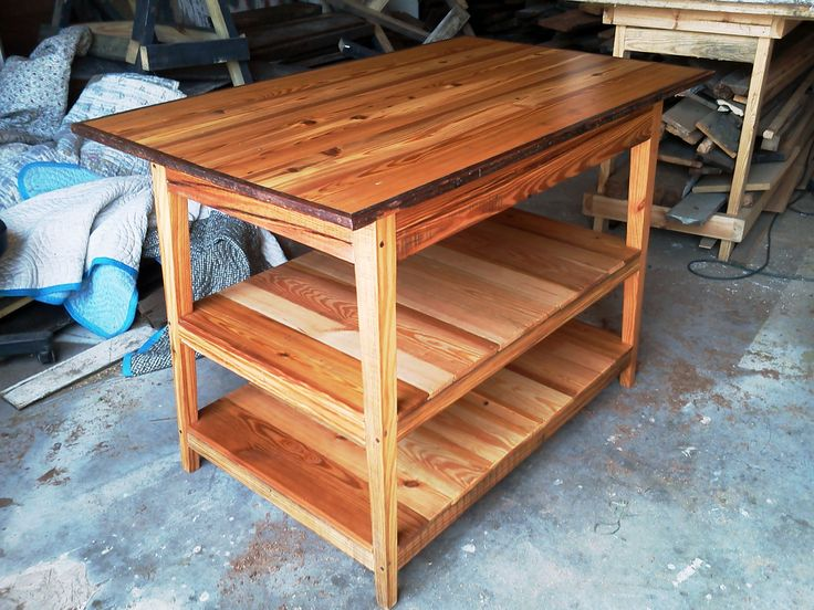 Double Shelf Kitchen Island Made From Reclaimed Wood By