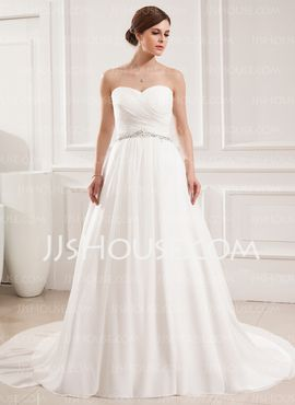 Corte de baile Escote corazón Cola corte Chifón Vestidos de novia con Volantes Bordado (002019533)