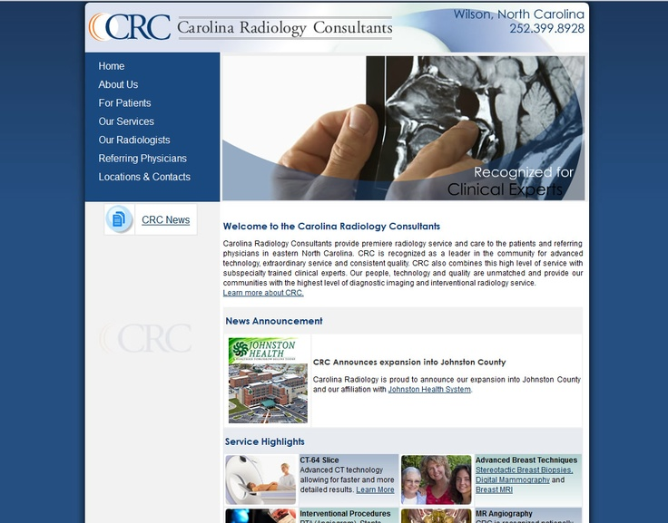 http://www.carolinaradiology.net/ Carolina Radiology Consultants of Wilson, North Carolina.