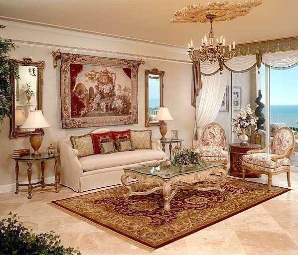 Drawing Room Interiors Design With White, Cream, Green U0026 Red Colors  Combination