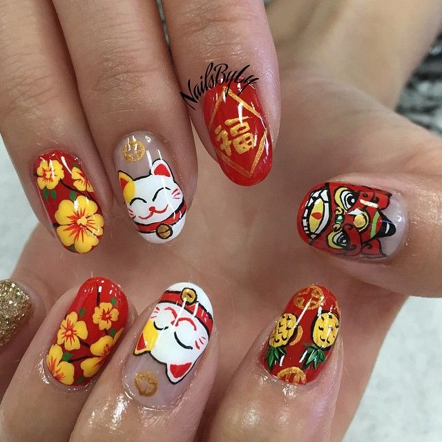 78 Best Nail Chinese New Year Images On Pinterest Art Nails