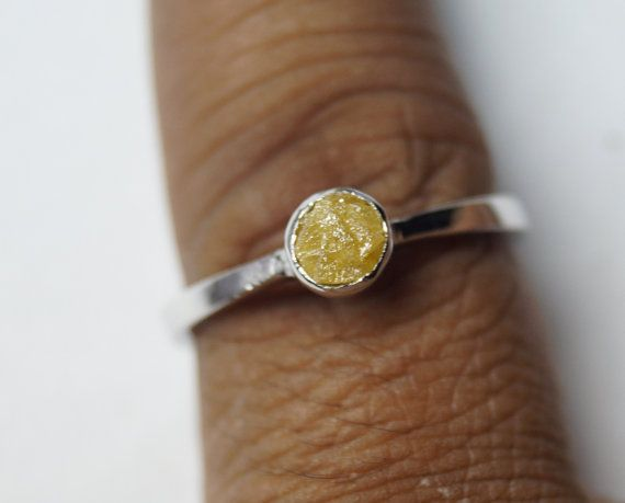Yellow Diamond ring Uncut diamond ring Yellow rough diamond