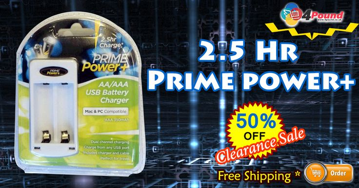 50% Off Grand Sale on 2.5 Hr Prime Power+. Free Shipping Availability. Product Description : AA/AAA USB Battery charger. 2.5 Hr Charger. Mac& PC compatible. Dual channel charging charge from any USB port includes charger and cable perfect for travel. AAA 350mAh.  Shop Now : http://www.4pound.co.uk/2.5-hr-prime-power