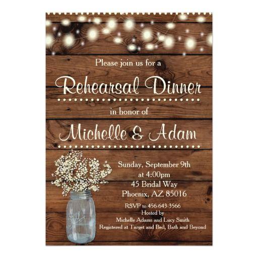 Rustic Rehearsal Dinner Invitation, Rehearsal Card