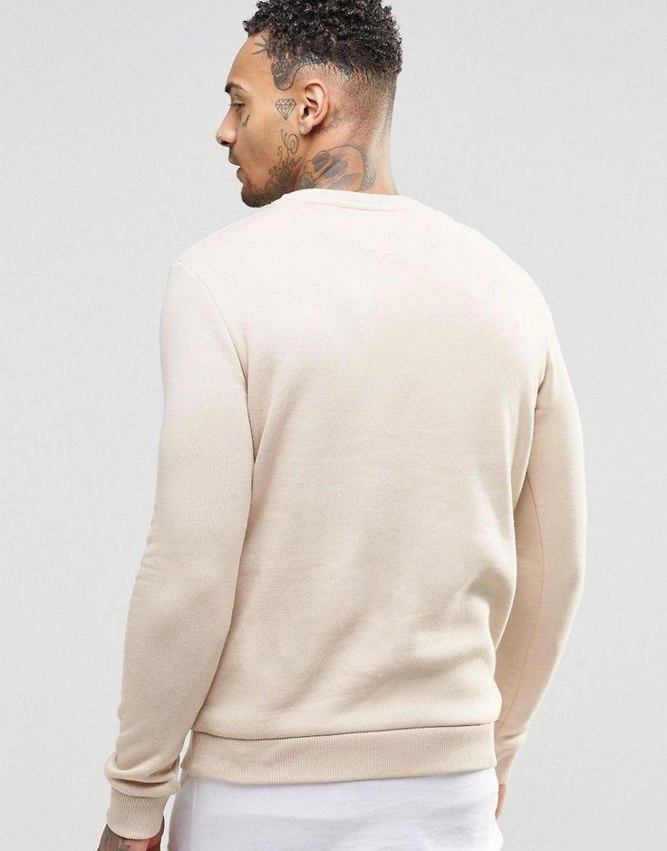 Hype Sweatshirt With Crest Logo - Beige