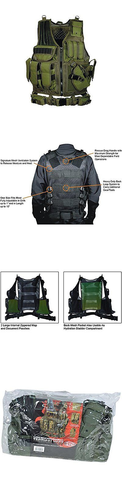Clothing and Protective Gear 159044: Airsoft Deluxe Tactical Vest Od Green Swat Gear Molle Assault Military Holster BUY IT NOW ONLY: $78.15
