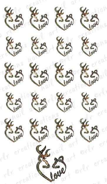 20  Deer Camo Country Love  Buck and Doe Water Slide Nail Art Decals Country Nail Art Designs