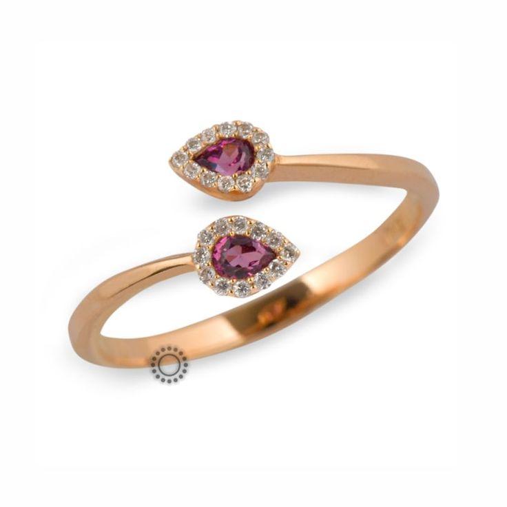Μοντέρνο δαχτυλίδι από ροζ χρυσό Κ18 με δάκρυα ροδολίτες & μικρά διαμάντια | Δαχτυλίδια με ορυκτές πέτρες ΤΣΑΛΔΑΡΗΣ στο Χαλάνδρι #διαμάντια #δαχτυλίδι #rings #gold