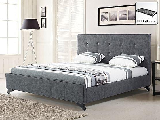Polsterbett 180x200 cm - Bett - Stoffbett inkl. Lattenrost - Doppelbett - Grau - AMBASSADOR