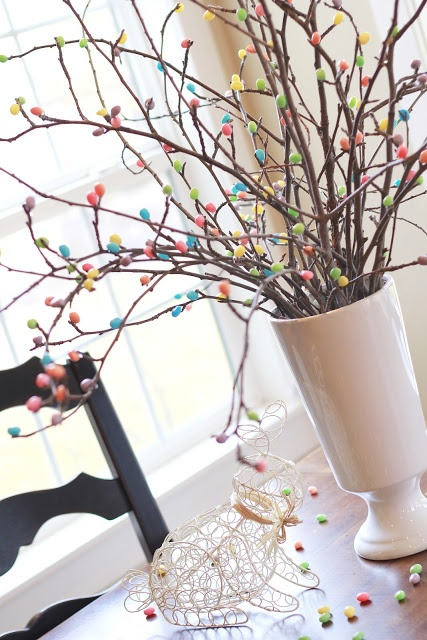 Easter ~ hot glue jelly beans to twigs
