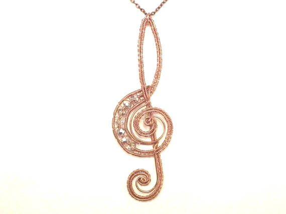 Treble clef Swarovski copper pendant musician wire wrapped