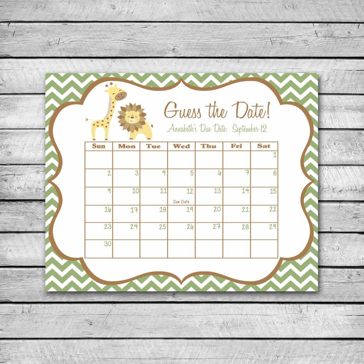 Guess the Date   Safari Animals with Chevron   Baby Shower Game   Due Date Calendar   Digital File by swtleilanidesigns on Etsy https://www.etsy.com/listing/222271636/guess-the-date-safari-animals-with