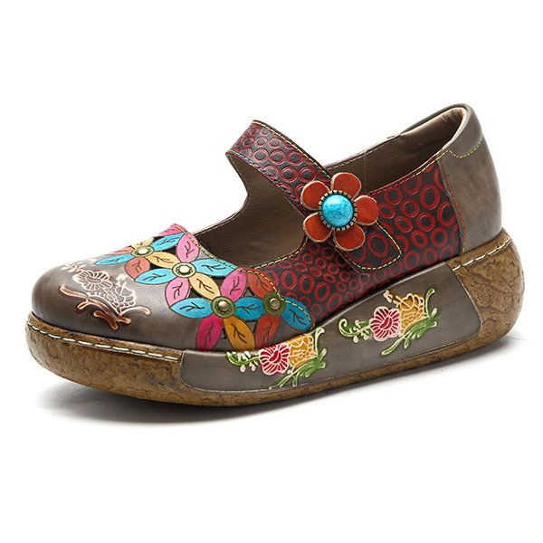 SOCOFY New Printing Splicing Flower Pattern Flat Leather Shoes is cheap and  comfortable. There are other cheap women flats and loafers online Mobile.
