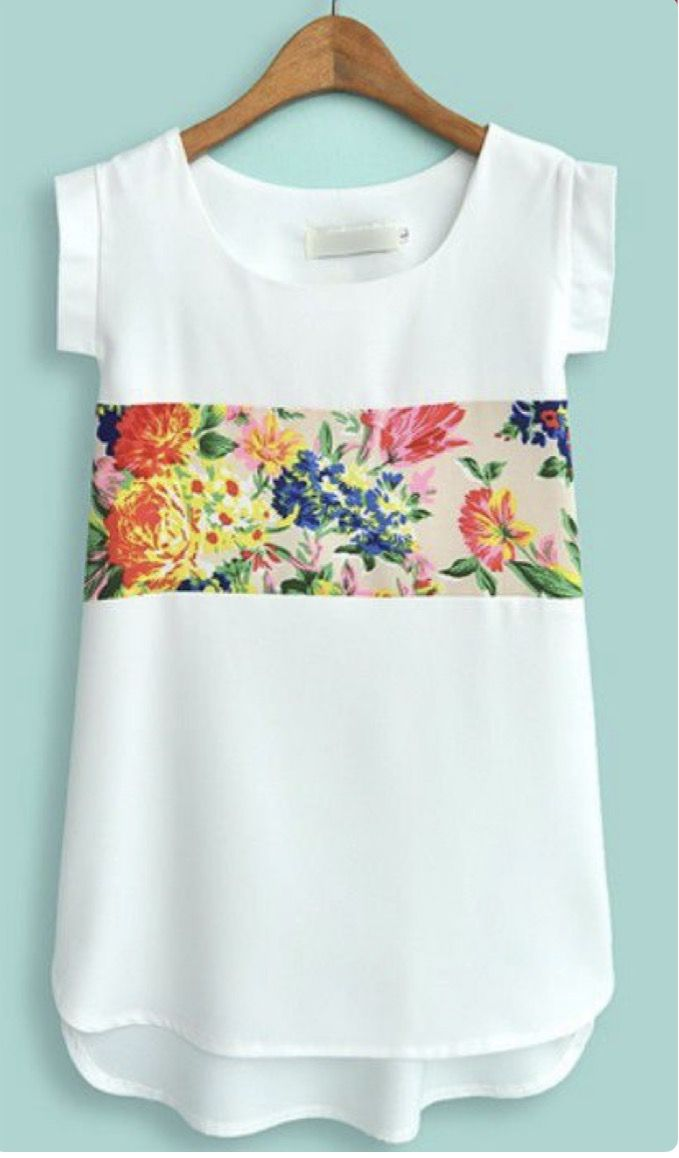 ~~~the perfect shirt for spring! Beautiful white short sleeve shirt with colorful floral band. Want this! Stitch fix spring. Stitch fix summer. 2017 #affiliatelink