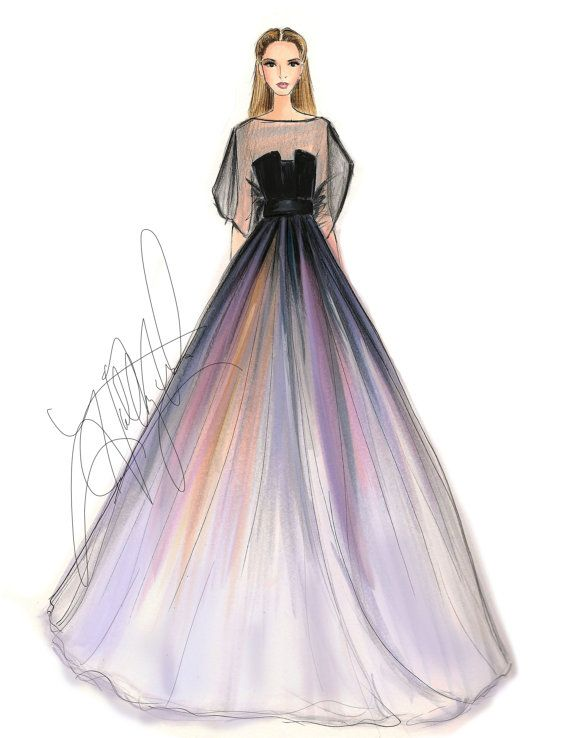 Elie Saab Spring 2014 Couture Fashion Illustration Print