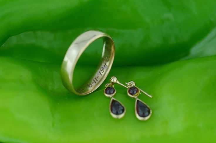 BEFORE Trudys garnet earrings and grandmothers wedding ring, note the inscription inside the ring