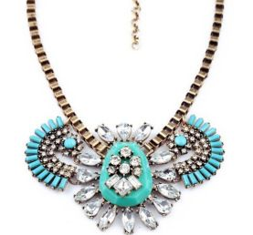 Blue sky high statement fashion necklace  Www.thehangoutb.com