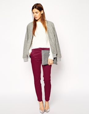 oxblood pants + grey cardigan + white blouse + silver pumps