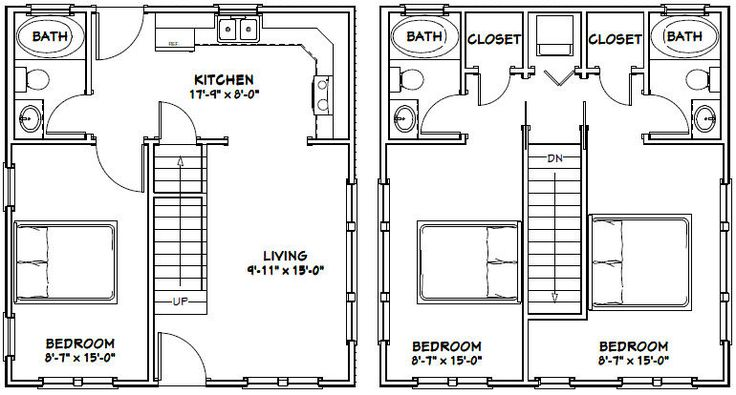 22x24 house 22x24h1 987 sq ft excellent floor for 18x30 house plans