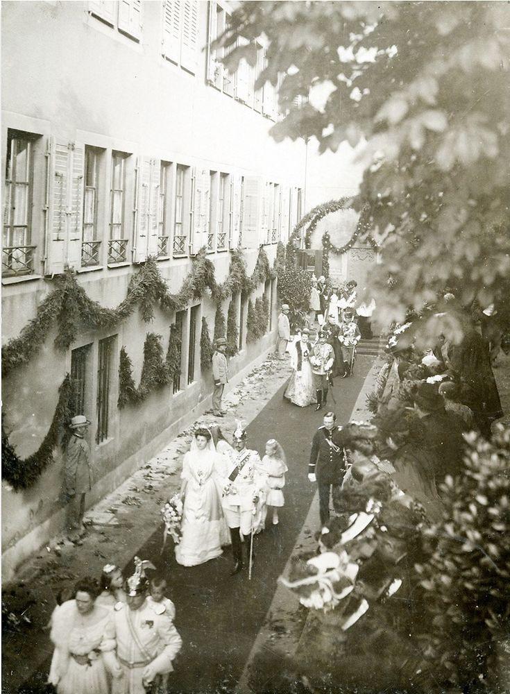 Gräfin Ortrud von Isenburg-Büdingen-Meerholz und Prinz Albrecht von Schleswig-Holstein-Sonderburg-Glücksburg in Schloss Meerholz am 14.10.1906