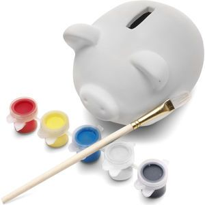 Piggy bank made of plaster, includes one wooden brush and five paint colours. (printing not available) from maxmerchandise.co.uk