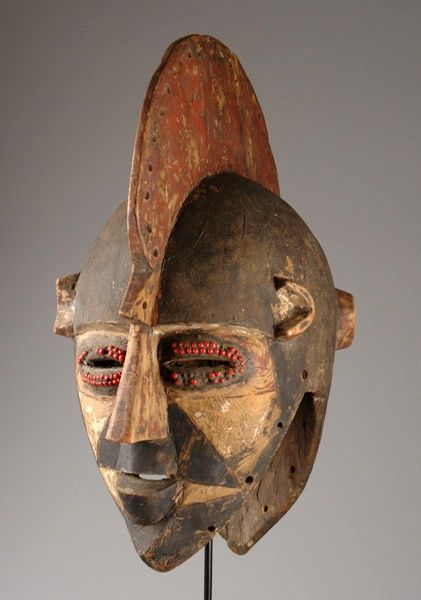 "Africa ~ Janus headed helmet mask ""bolo"" from the Bobo people of Burkina Faso ~ wood, black, red and white pigment & abrus seeds"