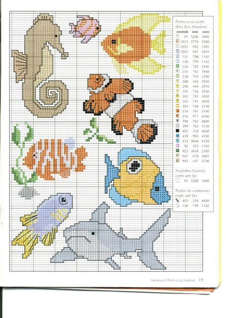 Schema punto croce animali marini cross stitch for Animali punto croce schemi gratis