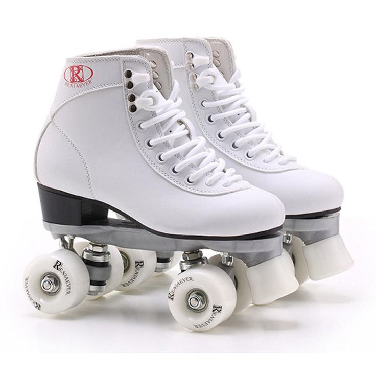 [Visit to Buy] White With White Wheels Roller Skates Lady Double Line Skates Women Adult Racing 4 Wheels Two line Roller Skating Shoes Patines #Advertisement