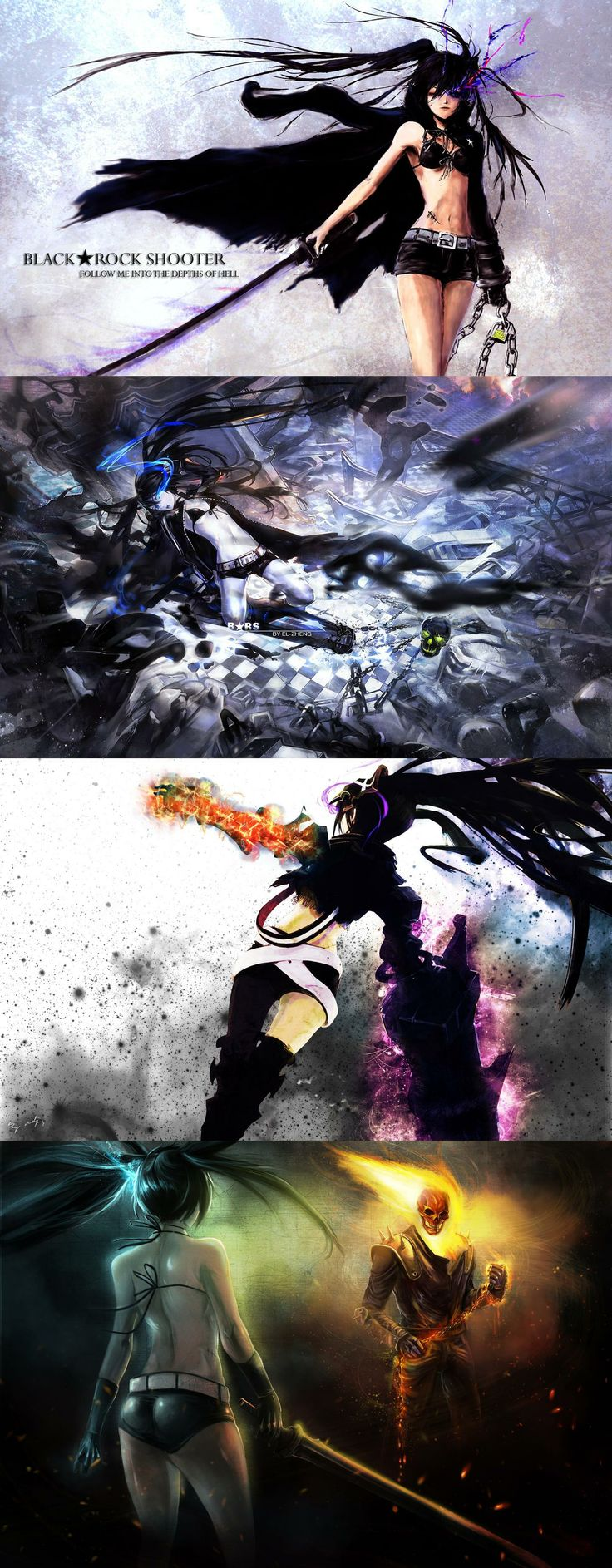 Black Rock Shooter & Ghost Rider