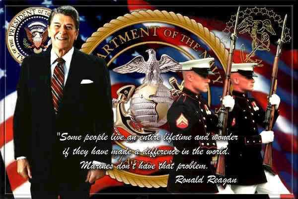 Two of my favorites.  President Reagan and USMC, especially my son, my brother and his son, my nephew.  Oohrah: America, Quote, Marines, Semper Fi, Marine Corps, Usmc, United States, Ronald Reagan, States Marine