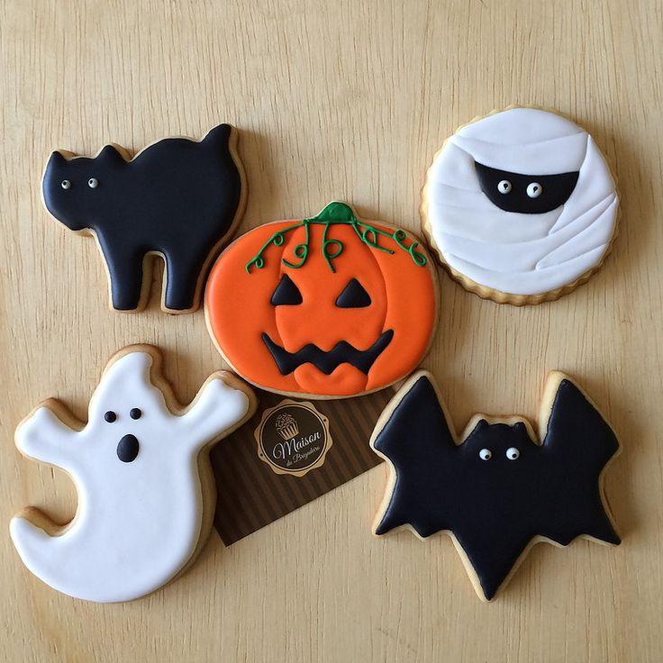 Halloween, Dia das Bruxas - Biscoitos amanteigados decorados com o tema Halloween