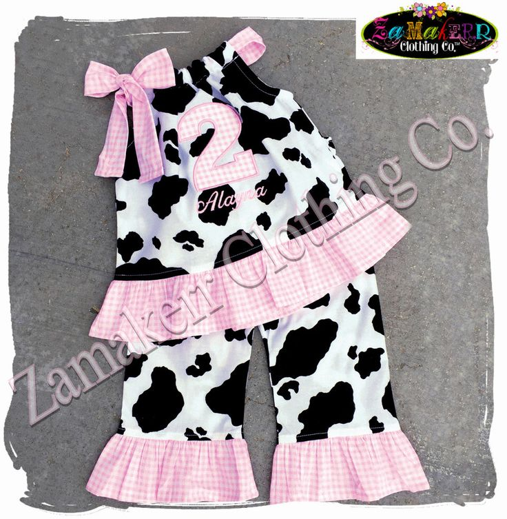 Custom Boutique Clothing Birthday Baby Girl Barn Farm Cow Outfit Top Pant Set Pink Gingham 1st 2nd 3 6 9 12 18 24 Month Size 2T 3T 4T 5T 6 7 by ZamakerrClothingCo on Etsy https://www.etsy.com/listing/272170554/custom-boutique-clothing-birthday-baby