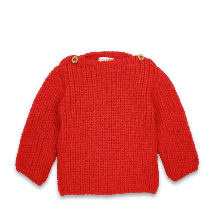 Pull d'hiver bébé coloris rouge tricoté avec laine et alpaga