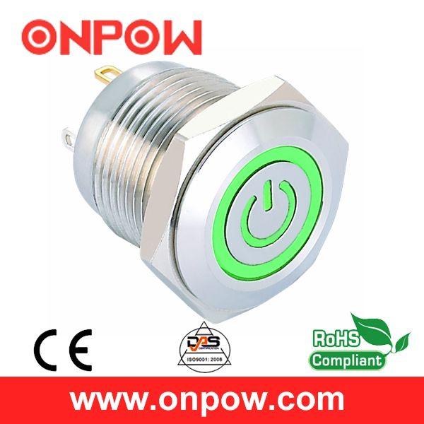 ONPOW 16mm 12V LED Stainless Steel Momentary Power Symbol Ring LED Push Button Switch (GQ16F-10ET/J/G/12V/S) CE,ROHS #Affiliate