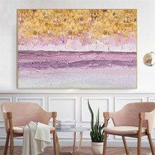 WARMSUN Modern Purple Abstract Gold Money Sea Wave Canvas Painting Poster Wall Picture for Li…