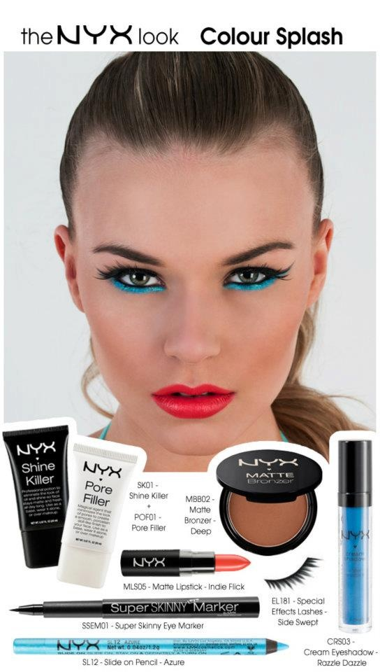 How to get this months look, bright bold colours in this look which will be great by the pool as the SL - Slide on Pencils are water proof! Get yours here: http://www.nyxcosmeticsstore.co.uk/acatalog/SL_-_Slide_On_Pencil.html only £6.50