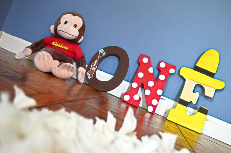 Curious George inspired letters. Custom made wall letters for kids. Party decor/ Bedroom wall decor by HallPassPartyShop on Etsy https://www.etsy.com/listing/466235012/curious-george-inspired-letters-custom