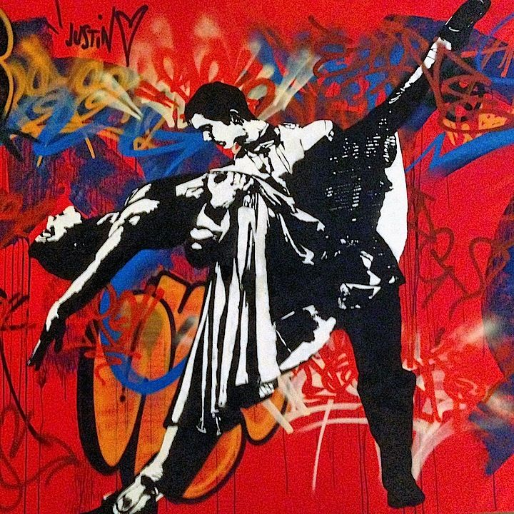 Stencil art pioneer blek le rat at the quin and on nyc for Daft punk mural