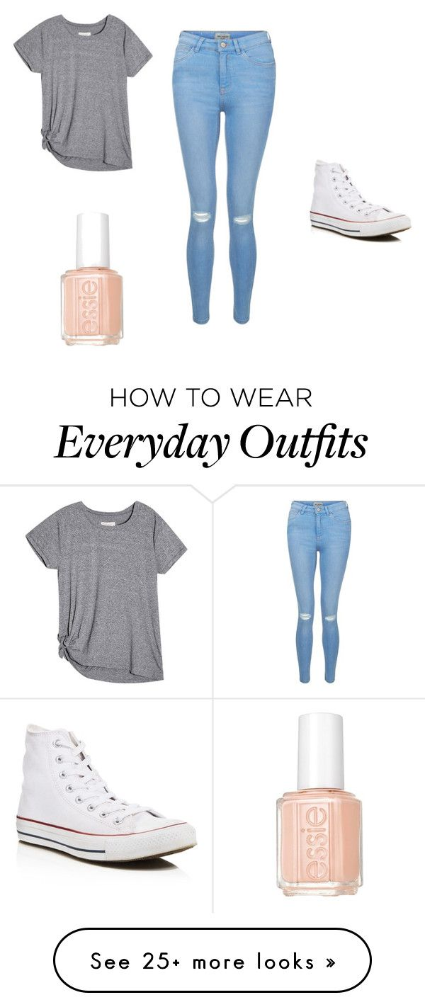 """Everyday outfit"" by kaiaskye on Polyvore featuring New Look, Converse and Essie"