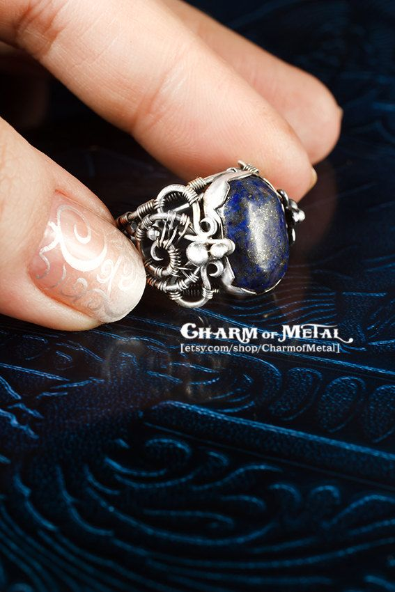 Nightfort - Silver Ring blue oval lapis lazuli with pyrite splashes  - Game of Thrones Night Watch Castle wire wrap jewelry