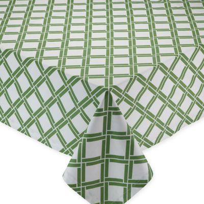 Bamboo-Lattice-Print 60-Inch x 84-Inch Oblong Tablecloth in Green/ White