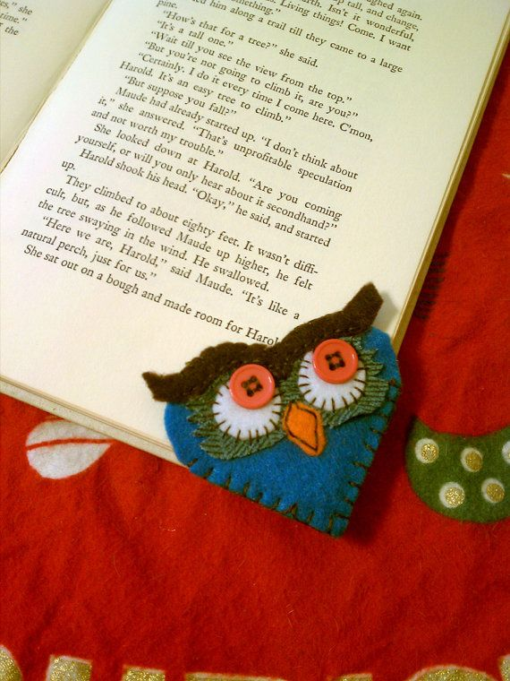 Felt Owl Bookmark by StitchVixen on Etsy, $8.00