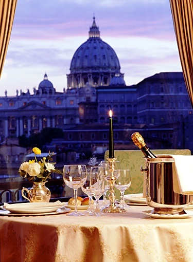 Amazing view of St. Peter Church from Les Etoiles Restaurant , Atlante Star Hotel ,  Rome , Italy