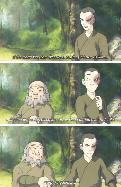 hahaha!! They'd rather die than be turned in to Azula! I agree.lol